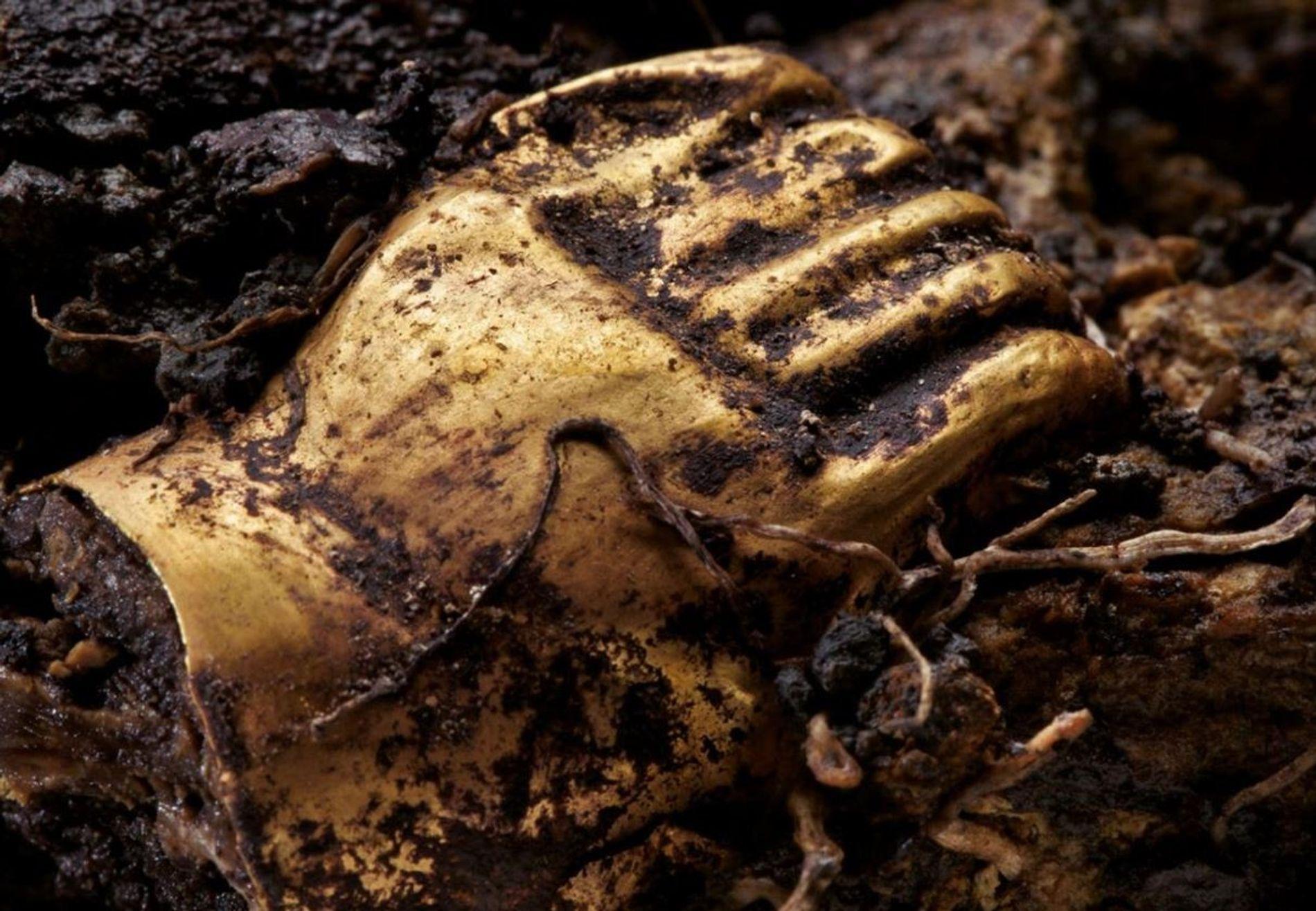 Deux minuscules figurines en or et en résine ont été trouvées au-dessus de la mâchoire inférieure. ...