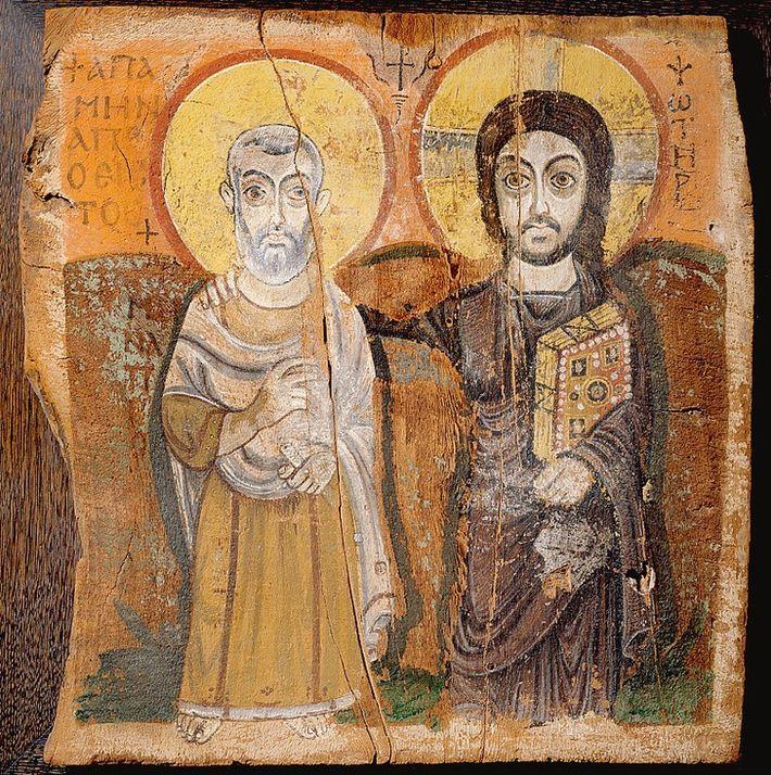 Icône copte représentant le Christ et Ménas.