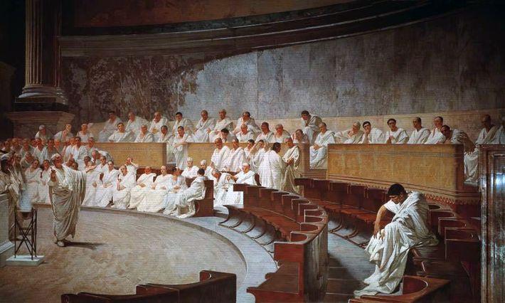 Cicéron démasque Catilina, tableau de Cesare Maccari (1840-1919) « Ils quittèrent tous le banc sur lequel ...