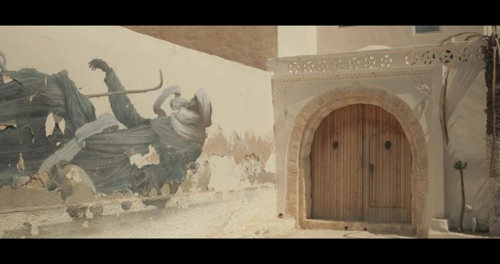Graffiti réalisé par l'artiste BomK, «Djerbahood » - Erriadh, Tunisie, 2018