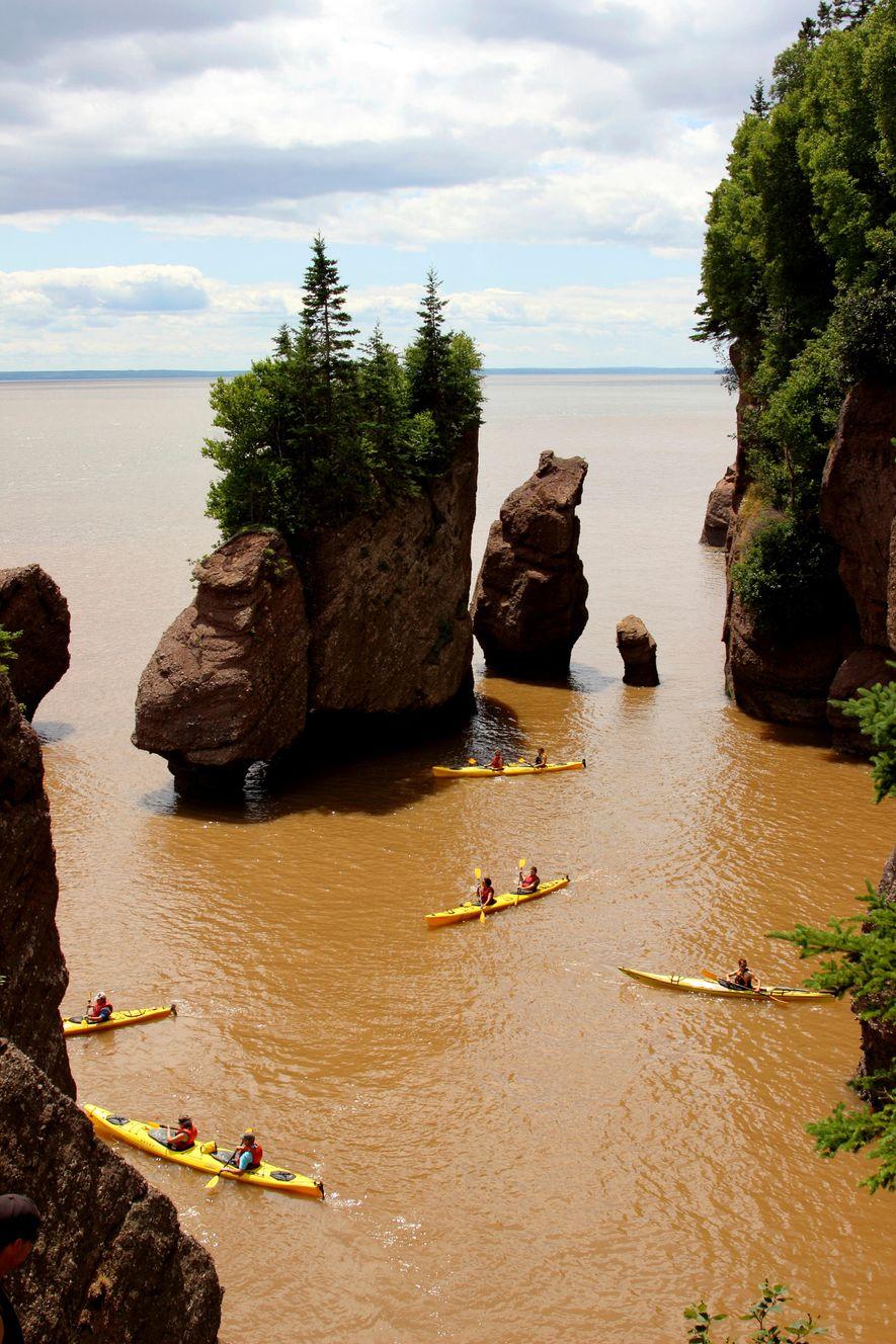 Deux fois par jour, la mer monte et s'engouffre dans la baie de Fundy, au Canada, ...