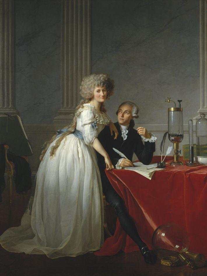 Portrait de Marie-Anne Pierrette Paulze (1758-1836) avec son mari Antoine Laurent Lavoisier par Jacques-Louis David