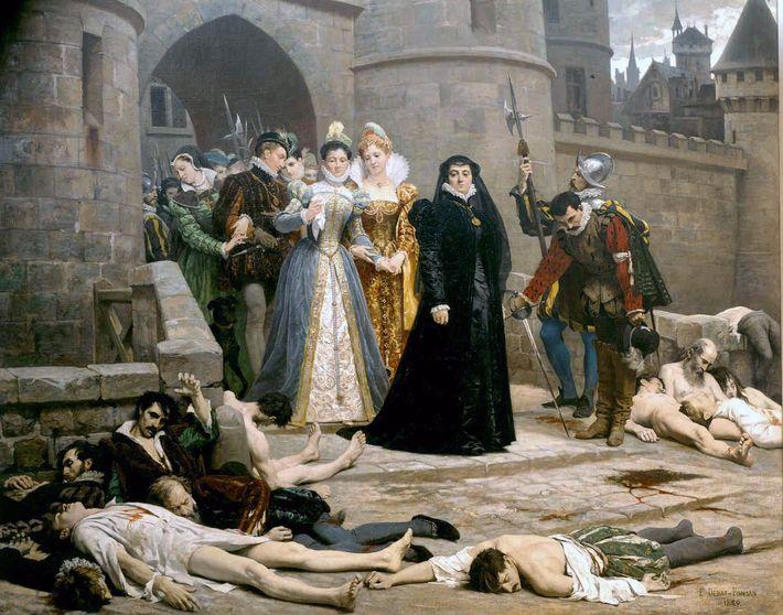 Catherine de Médicis regarde les cadavres de protestants au lendemain du massacre de la Saint-Barthélémy.