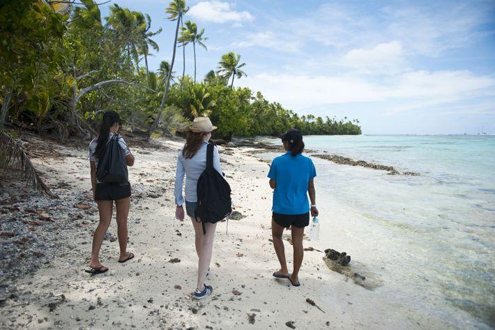 Escale à Rimatuu. Nous partons avec notre guide Aeata observer les marae, ces lieux de culte ...