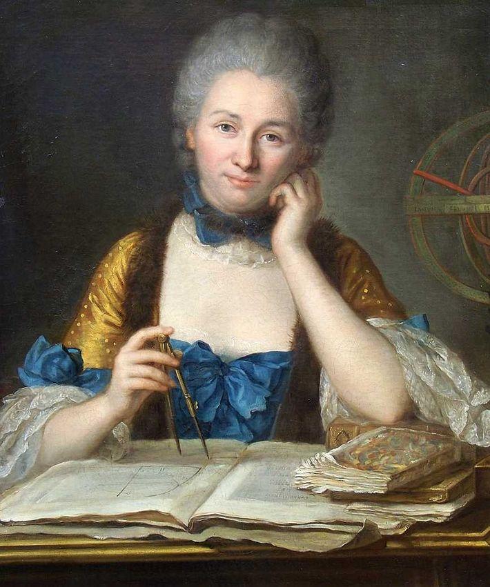 Gabrielle Émilie Le Tonnelier de Breteuil, marquise du Châtelet (1706-1749), mathématicienne et physicienne française dessinée par ...