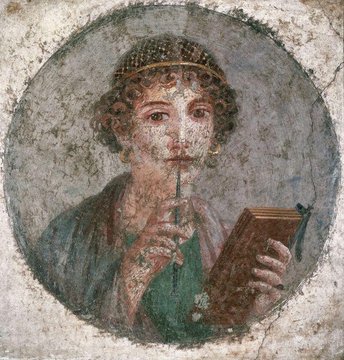 Jeune femme au stylet - Fresque du Ier siècle. Selon certains juristes et philosophes romains, il ...