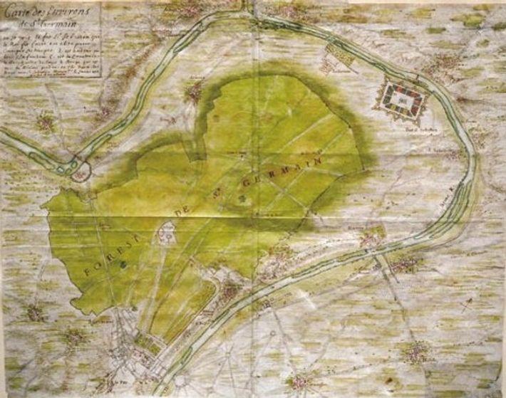 Carte du XVIIe montrant la position du fort Saint-Sébastien, fort d'entrainement des troupes de Louis XIV ...