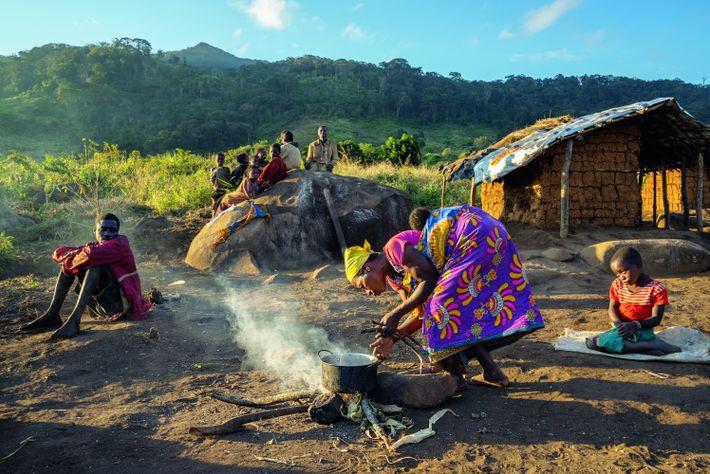Jacinta Sainet Miquirosse va cuire le dîner, devant sa maison du mont Gorongosa. Pendant des décennies, ...