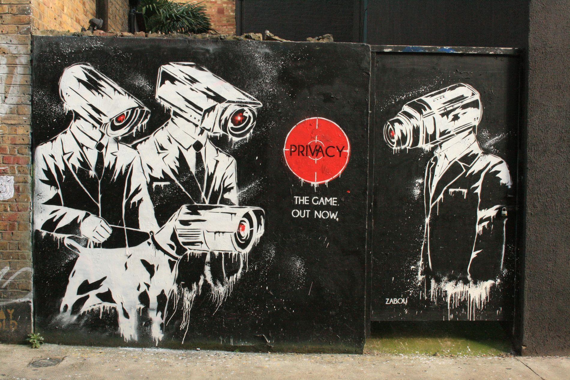 Street art dans le quartier de Shoreditch, à Londres, dénonçant la vidéo-surveillance.
