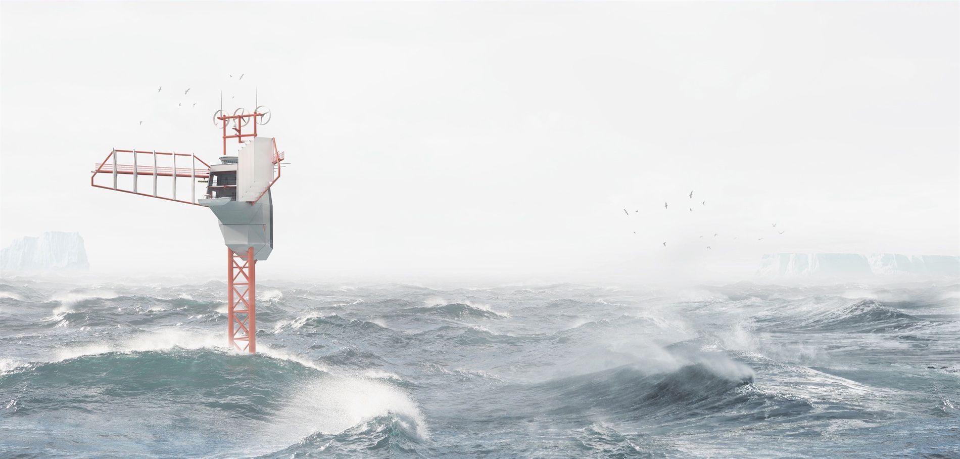 Illustration du Polar Pod dans les eaux déchaînées de l'océan austral.