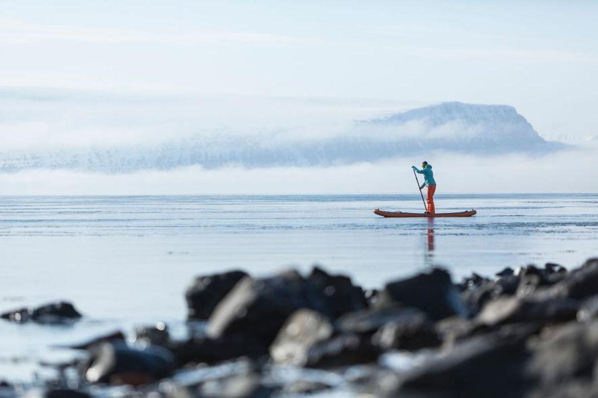 Un navigateur glisse le long de la côte dans la région des Fjords de l'Ouest, sur ...