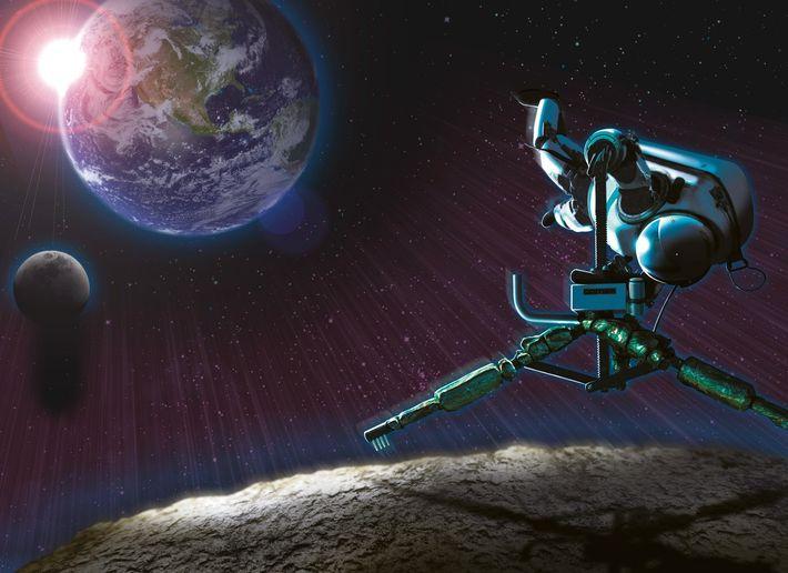 Sur cette illustration, un astronaute tente de s'arrimer à un astéroïde. Le scaphandre Gandolfi permet de ...