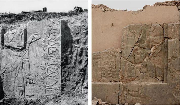 Gauche : Des archéologues découvrent une scène de rite sacré sur l'un des murs du palais ...