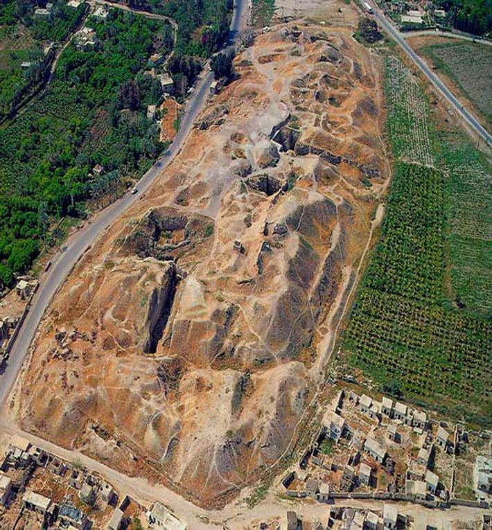 Une vue aérienne de Tell es-Sultan (l'ancienne cité de Jéricho) dans l'actuelle Cisjordanie. La population a ...