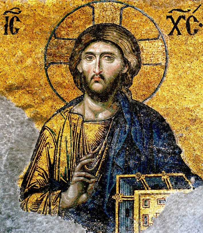 Mosaïque de la Déisis (XIIIe siècle) de la basilique Sainte Sophie, à Istanbul, représentant le Christ, ...