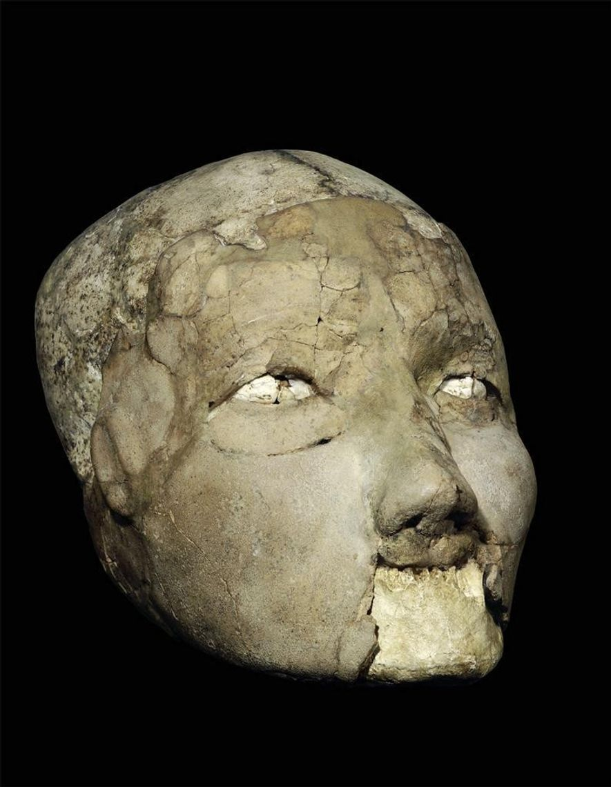 L'un des sept crânes de Jéricho, découverts en 1950, exposé au Musée archéologique d'Amman.