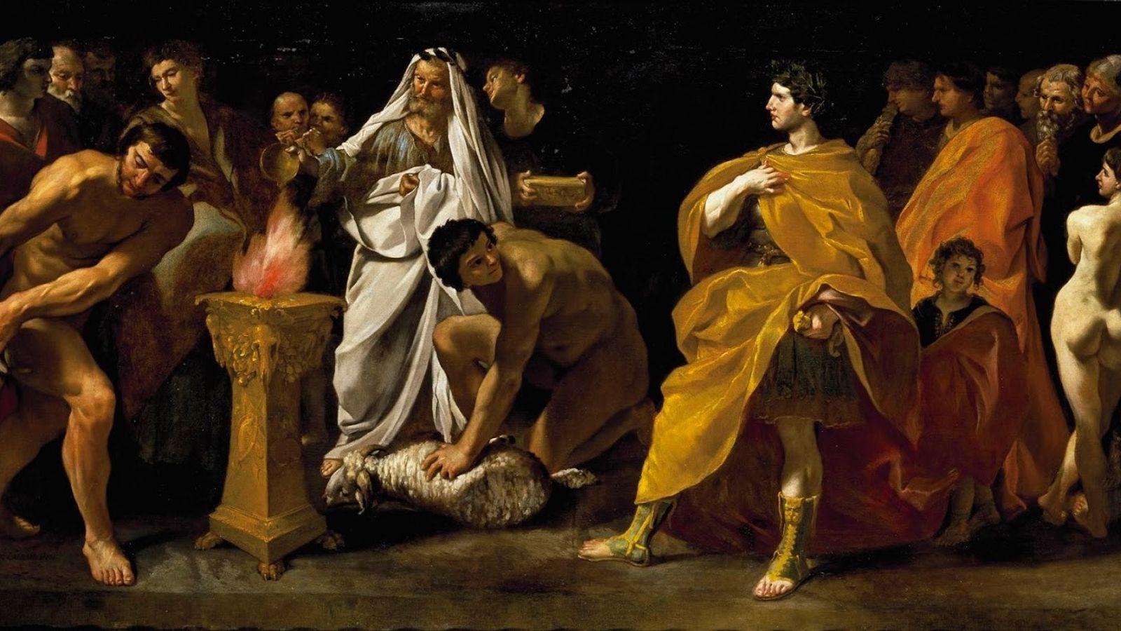 Cette peinture de Giovanni di Stefano Lanfranco représente une scène de sacrifice devant un empereur. Un ...