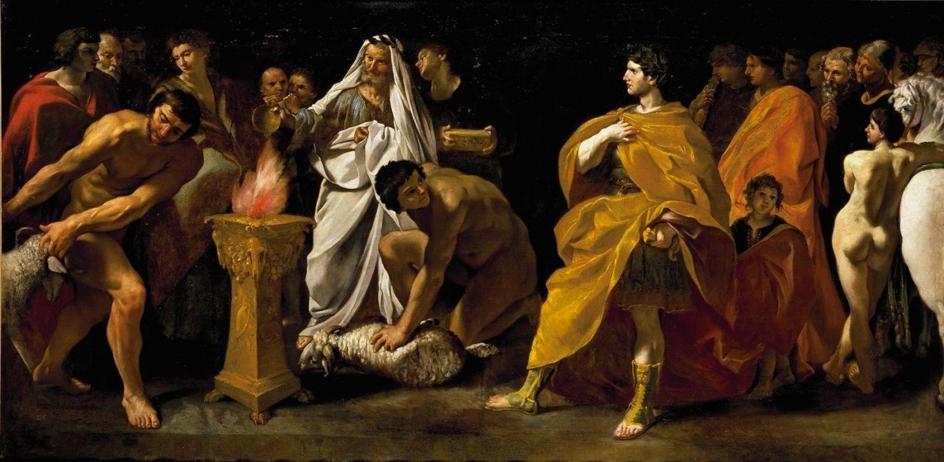 Cette peinture de Giovanni di Stefano Lanfranco représente une scène de sacrifice devant un empereur. Un prêtre verse une libation sur l'autel. Vers 1635.