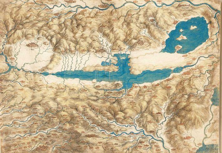 Représentation d'une région de Toscane par Léonard de Vinci.