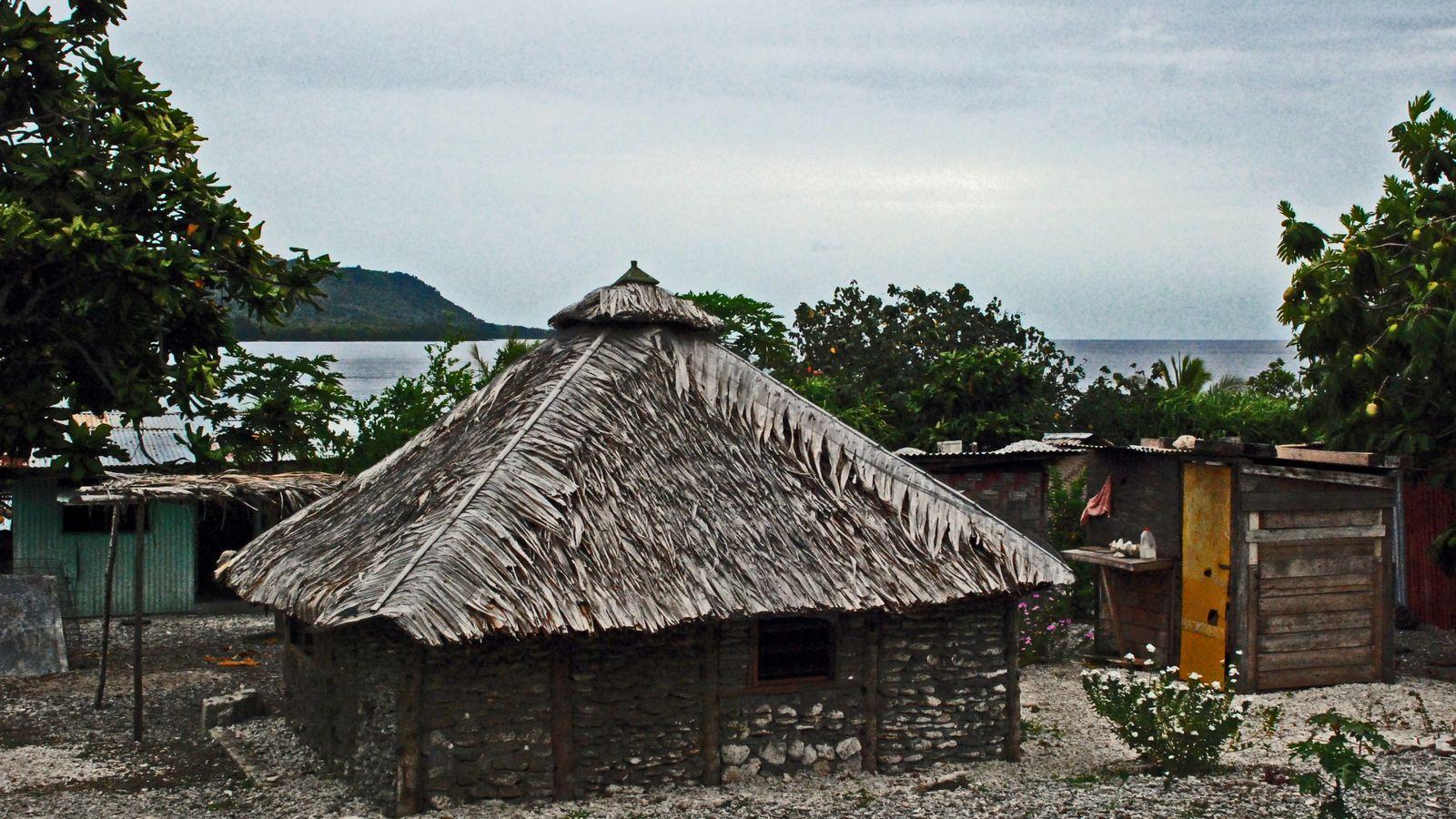 Maison de village à Natapau, sur l'île de Lelepa au Vanuatu. L'archipel de Mélanésie est le ...