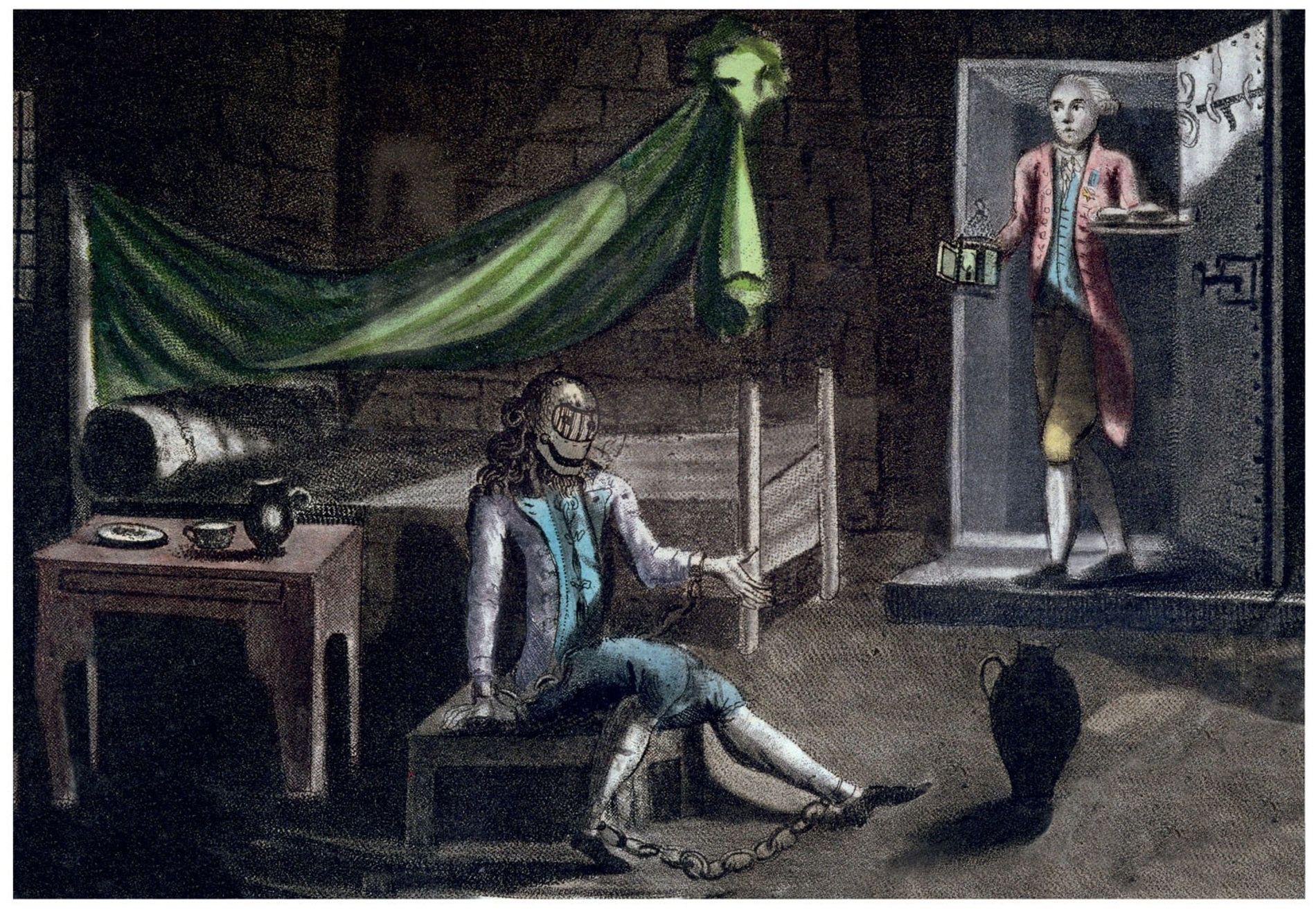 Cette gravure de 1789 attribue au prisonnier l'identité de Louis de Bourbon, fils illégitime de Louis ...