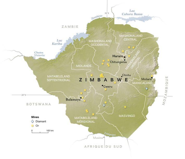 Localisation des mines du Zimbabwe.