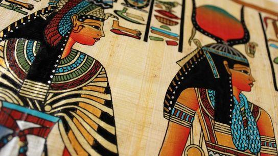 Isis et la reine Néfertari | Antiquité égyptienne, gros plan sur un papyrus