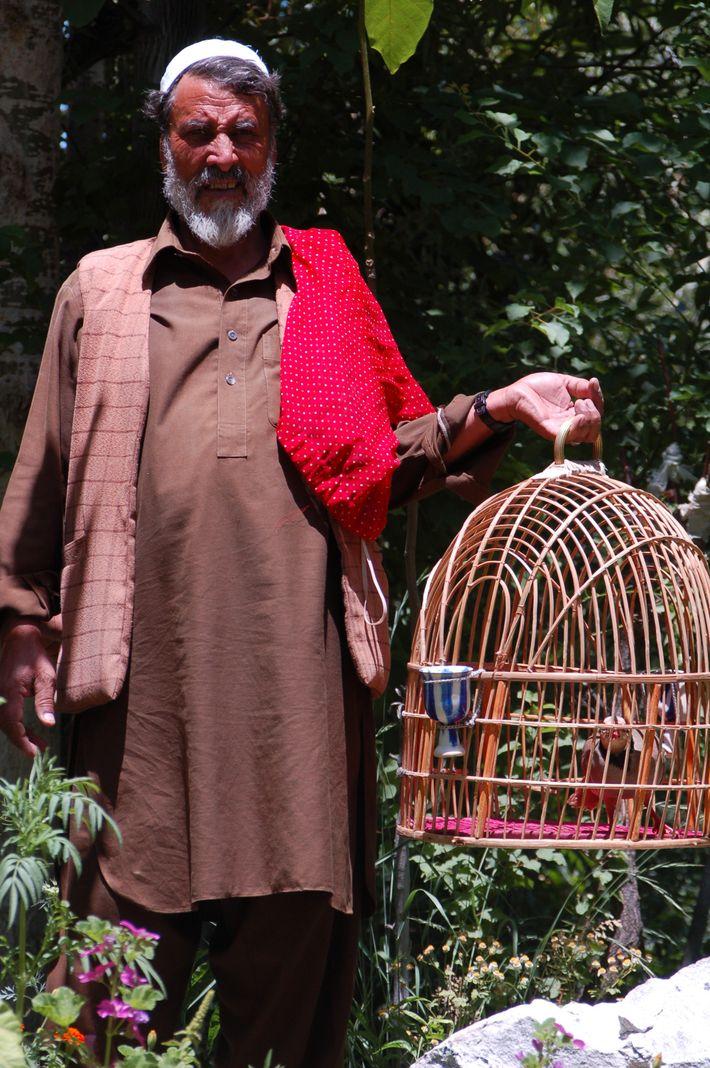 Toran nous montre son kaouk (oiseau) en cage.