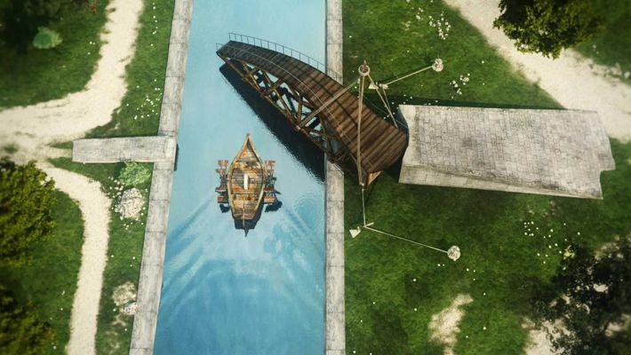 Une représentation numérique du pont tournant de Léonard de Vinci qui laisse le passage à un ...