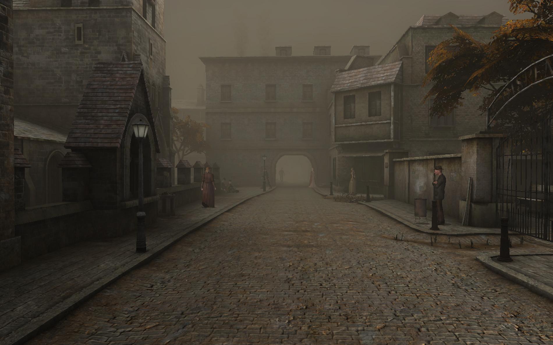 """Image extraite du jeu """"Sherlock Holmes contre Jack l'Éventreur"""". Nous sommes ici dans une rue de ..."""