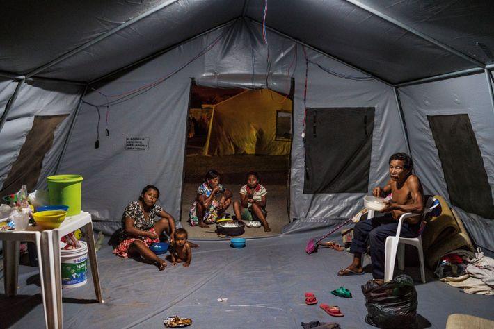Loin de leur région natale du delta de l'Orénoque, les Warao dorment dans des tentes fournies ...