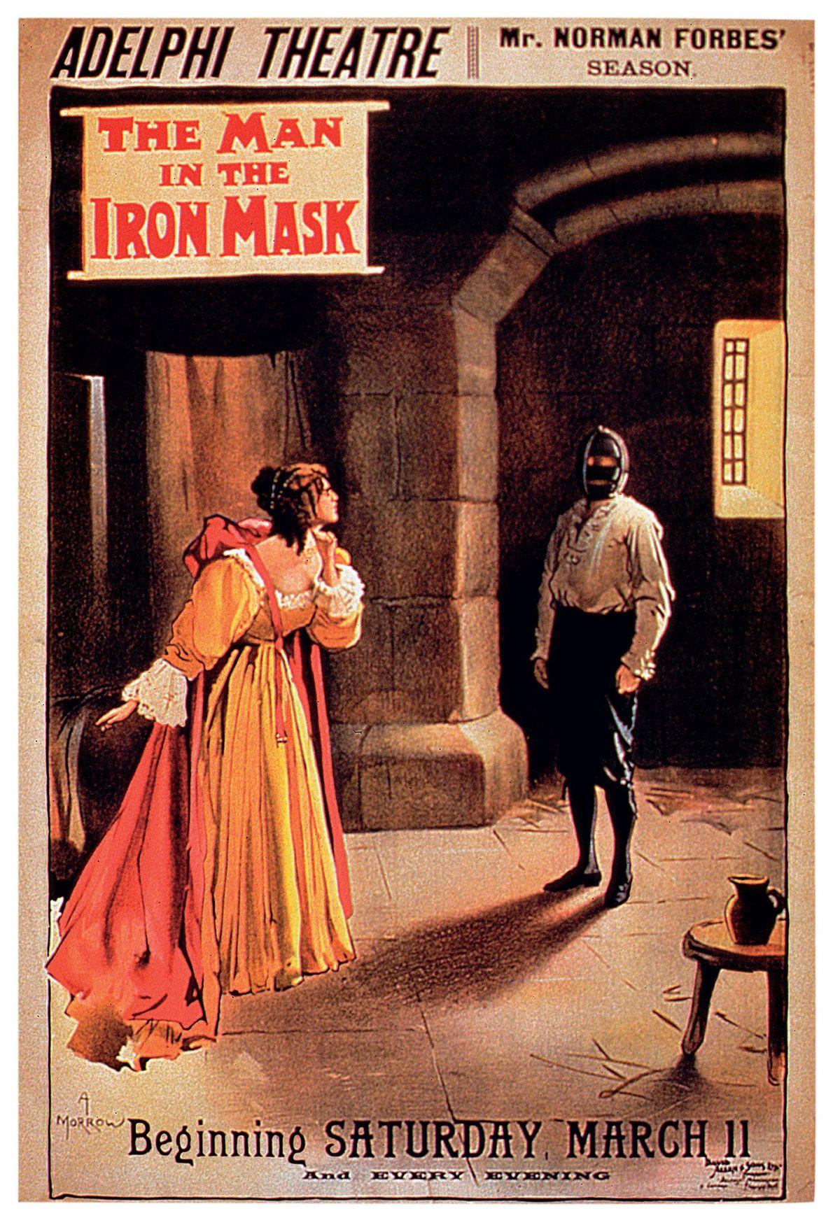 Cette affiche annonce l'adaptation célèbre de 1899 du livre d'Alexandre Dumas, qui sera jouée 69 fois ...