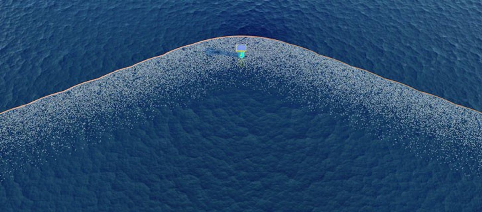 Le système Ocean Cleanup à l'oeuvre : la flotte de systèmes de nettoyage est disposée en ...