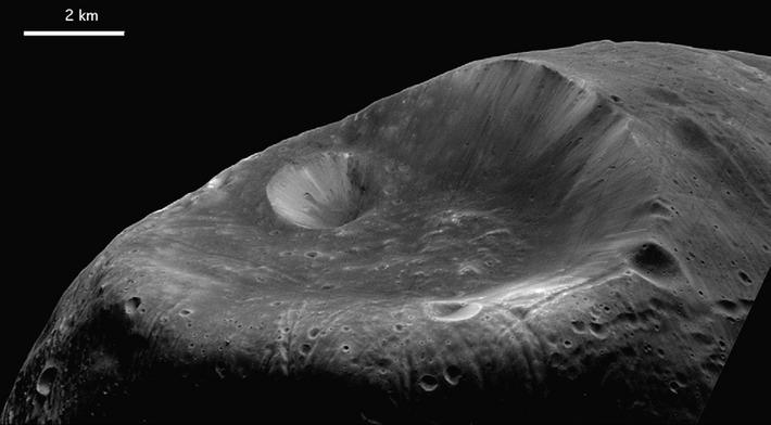 Représentation du cratère Stickney, sur la surface de Phobos.