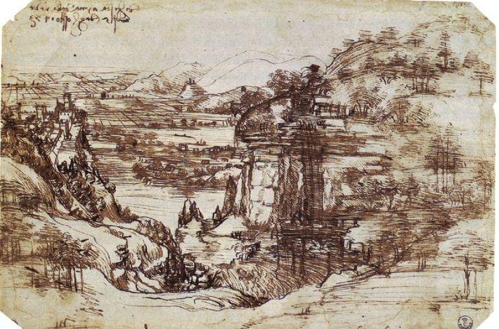 Il Paesaggio con fiume, un dessin du jeune Léonard de Vinci, conservé à la galerie des ...