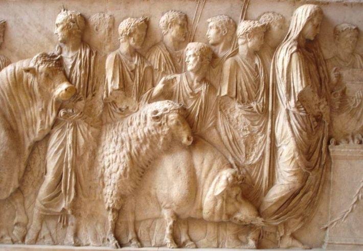 Avant de partir au combat, l'armée romaine se purifiait par la cérémonie de la lustration. On ...