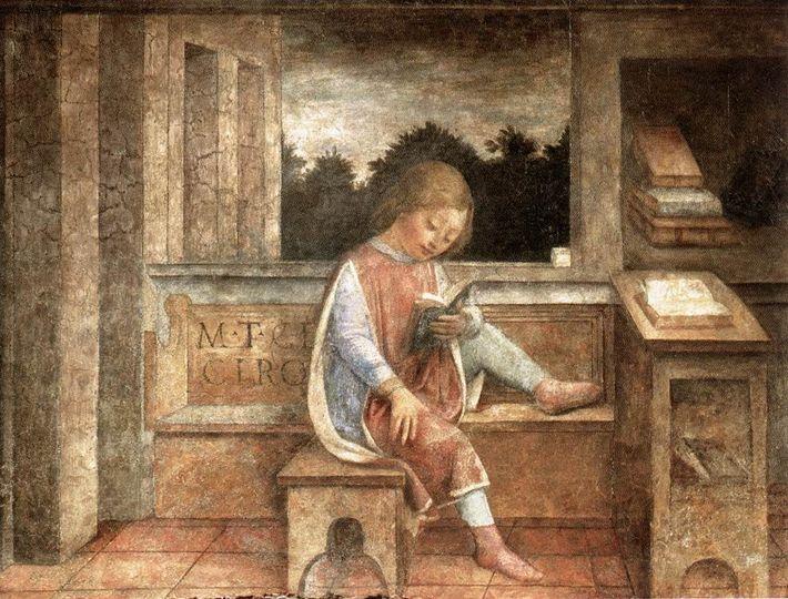 Le Jeune Cicéron lisant, fresque de Vincenzo Foppa de Brescia, datée vers 1464.