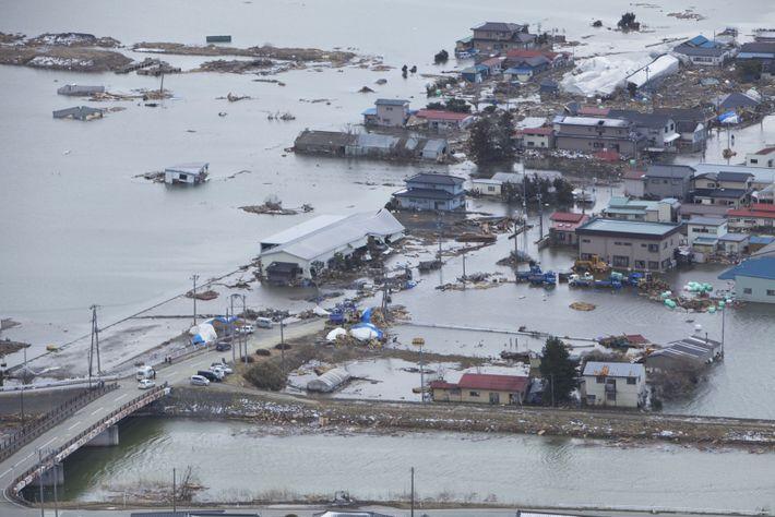 Vue aérienne de Minato, dévastée en 2011 par un tremblement de terre puis un tsunami.