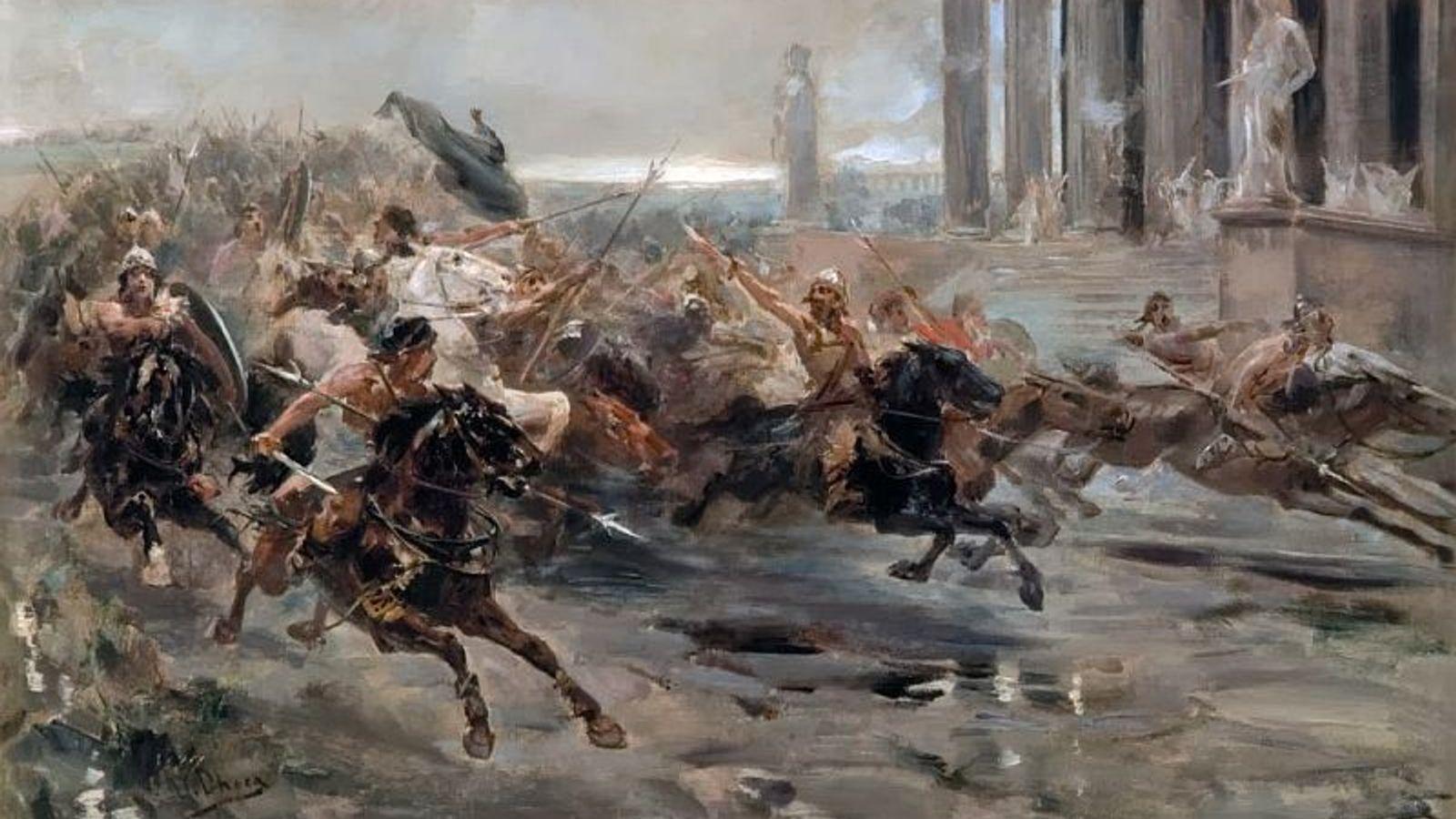 Les Huns menés par Attila, déferlant sur l'Italie, vus par Ulpiano Checa y Sanz (1887).