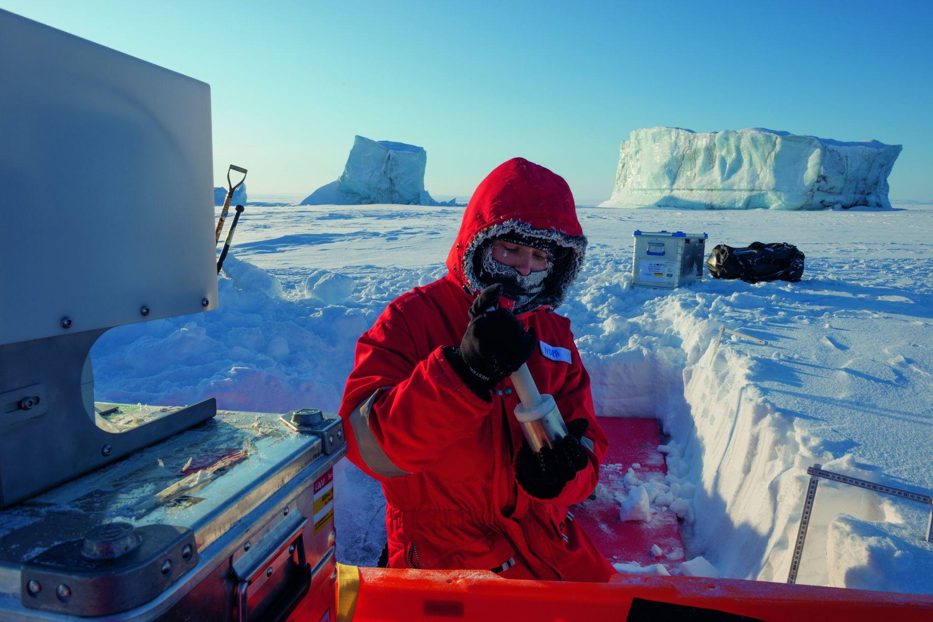 Nora Fried, assistante derecherche, utilise unIceCube portatif, un instrument qui mesure lasurface spécifique desparticules de neige ...