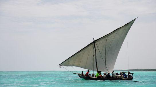 Sur la côte nord de l'île, face au petit village de Nungwi, les hommes partent à ...