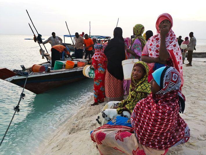 En fin de journée, la plage de Kendwa se remplit de femmes venues attendre le retour ...