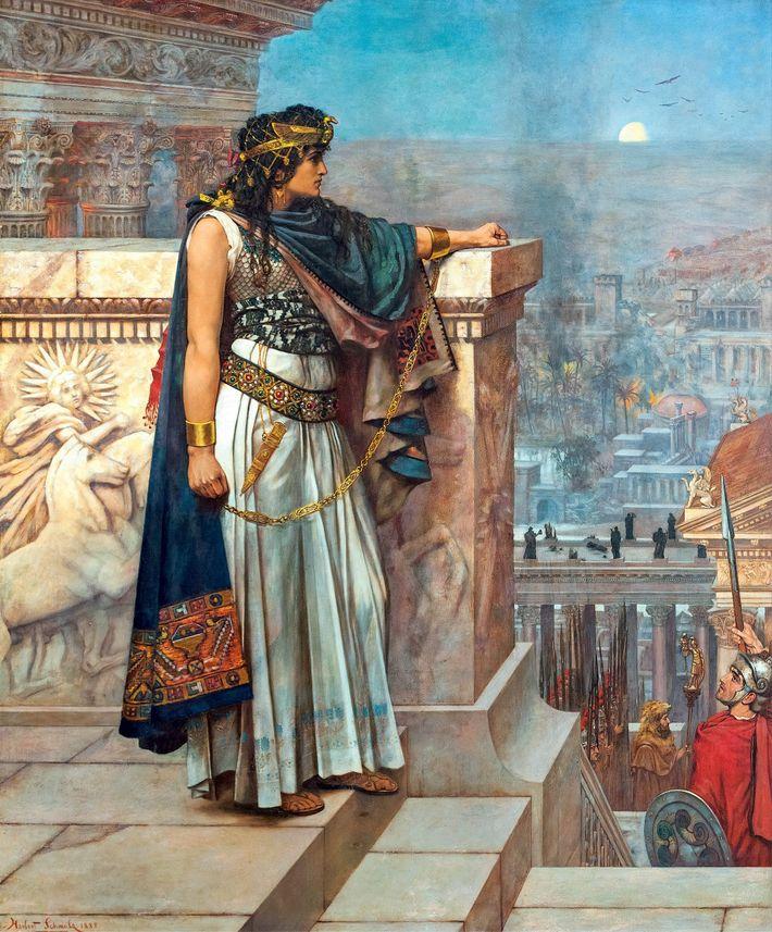 Ce tableau de 1888 d'Herbert Gustave Schmalz restitue le moment où Zénobie, reine de Palmyre qui ...