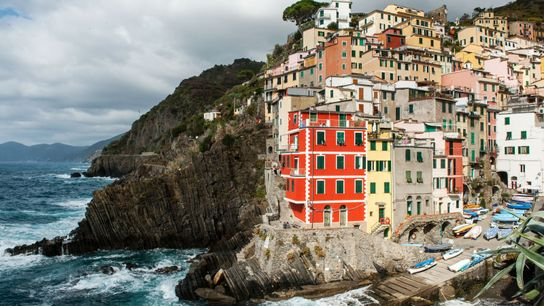 Riomaggiore, l'un des cinq villages des Cinque Terre en Italie.