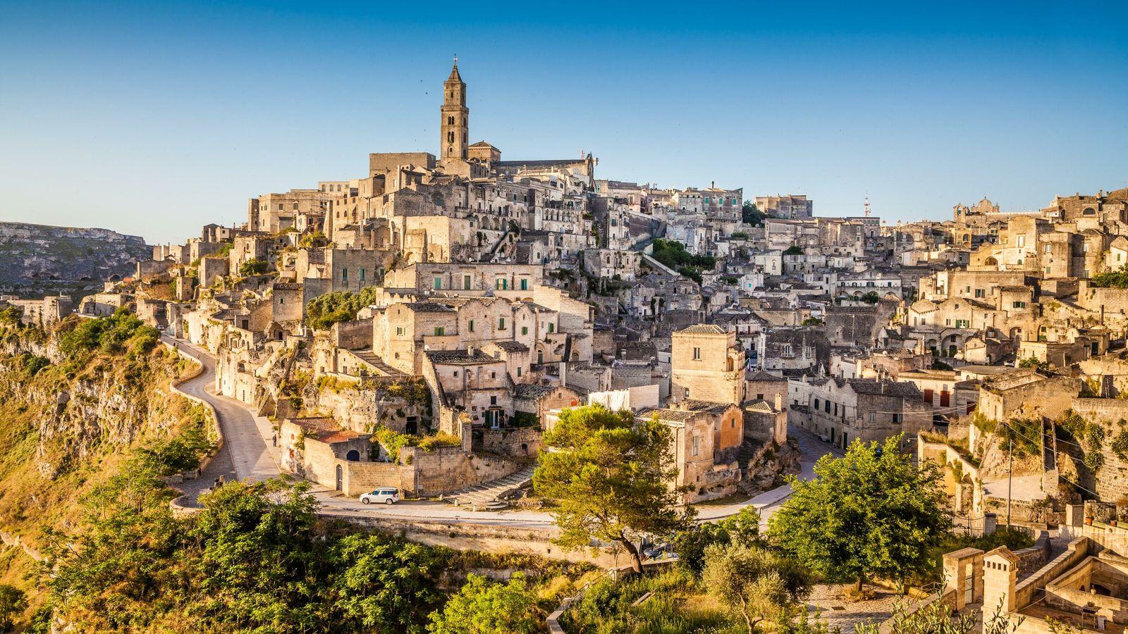 Vieille ville de Matera au lever du soleil.