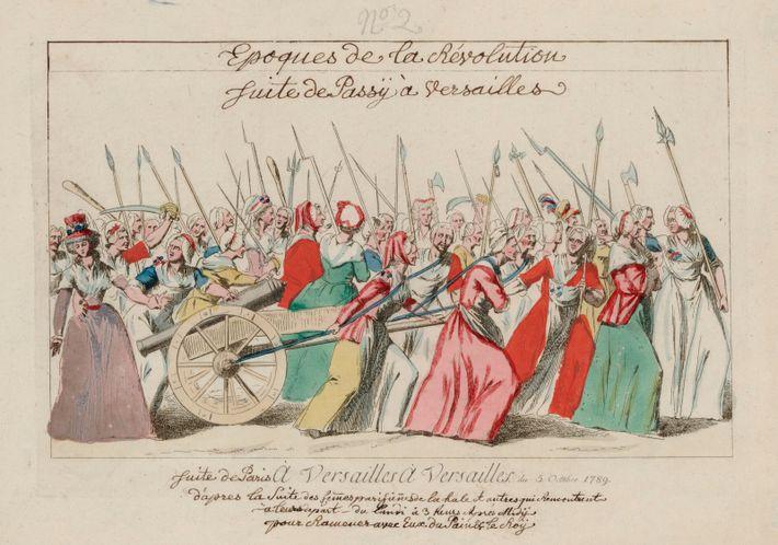 Mars de l'poissardes, ou les femmes du marché, à Versailles, au cours de la Révolution française, ...