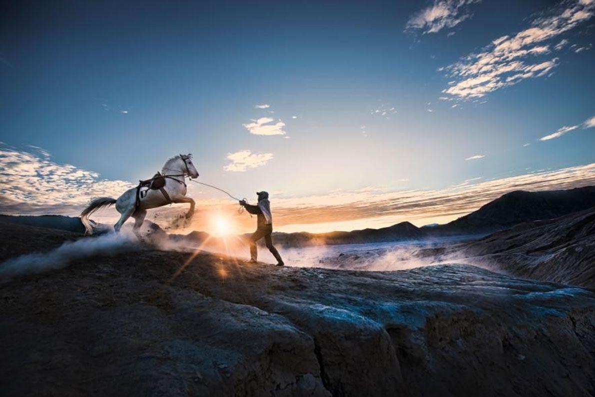 À proximité du cratère du volcan Bromo, en Indonésie, un dresseur de chevaux tient la corde ...