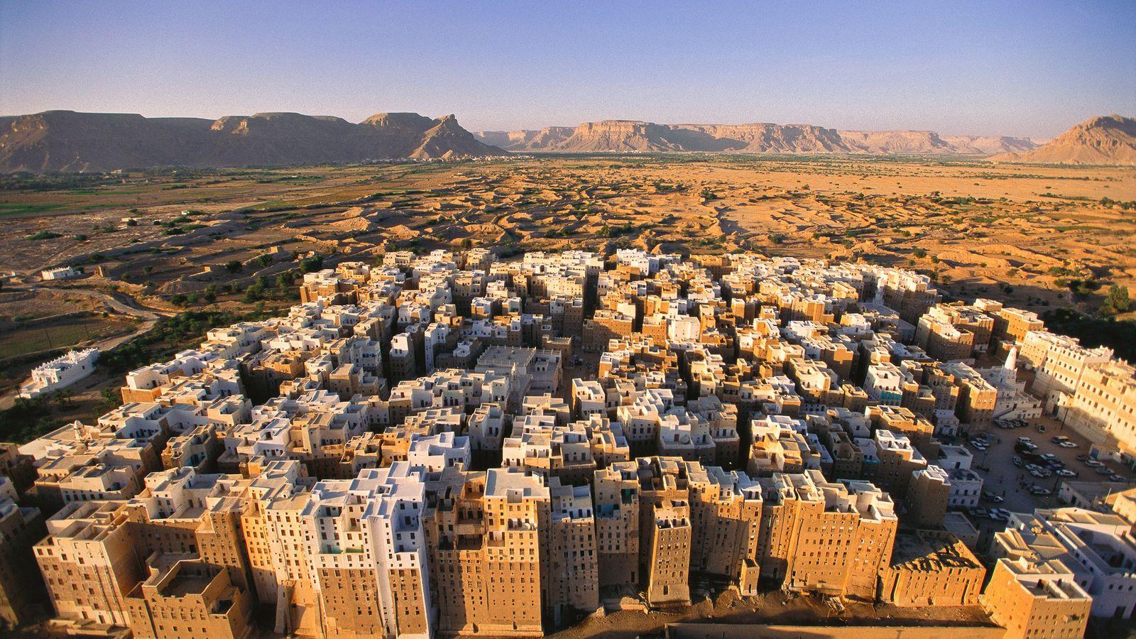 Shibam, l'ancienne capitale commerciale de la partie yéménite du désert du Quart Vide. Ses tours habitables ...