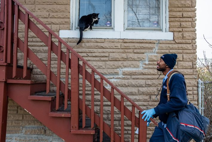 Augusta distribue le courrier dans le quartier de West Garfield Park à Chicago depuis plus de ...