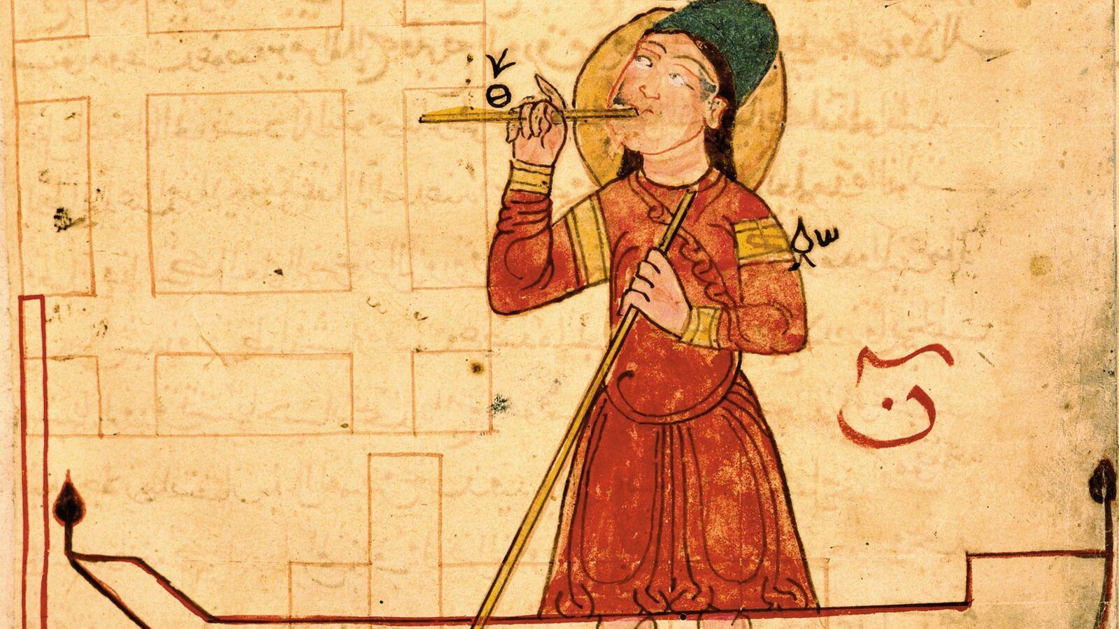 Cette miniature tirée du Livre de la connaissance d'Al-Jazari représente un flûtiste automate fonctionnant à l'eau, ...